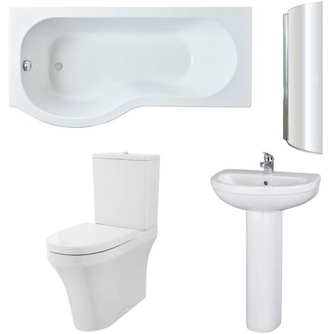 Nuie Ivo Complete Bathroom Suite with P-Shaped Shower Bath 1700mm - Left Handed