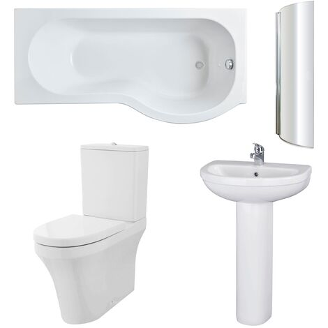 Nuie Ivo Complete Bathroom Suite with P-Shaped Shower Bath 1700mm - Right Handed