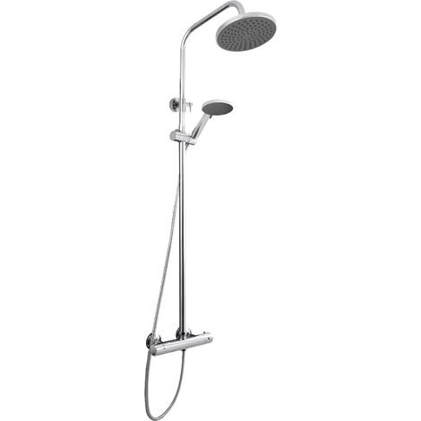 Nuie JTY375 ǀ Modern Bathroom Complete Round Thermostatic Bar Shower with Telescopic Kit with 3 Function Handset, 1245mm x 267mm, Chrome