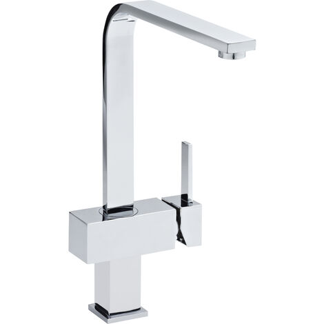 Nuie KC312 ǀ Modern Kitchen Square Single Lever Handle Side Action Sink Mixer Tap and Square Spout, 327mm x 127mm, Chrome
