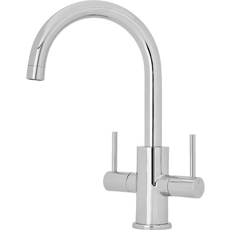 Nuie KC319 ǀ Modern Kitchen Two Handle Mono Sink Mixer Tap with Curved Swivel Spout, 282mm x 140mm, Chrome