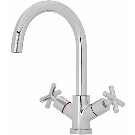 Nuie Kitchen Sink Mixer Tap Dual Crosshead Handle - Chrome