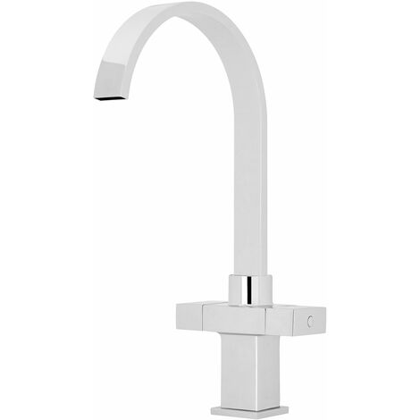 Nuie Kitchen Sink Mixer Tap Dual Square Handle - Chrome