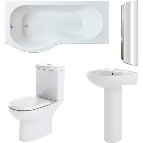 Nuie Lawton Complete Bathroom Suite with P-Shaped Shower Bath 1700mm - Left Handed