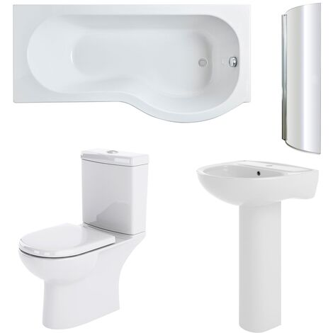 Nuie Lawton Complete Bathroom Suite with P-Shaped Shower Bath 1700mm - Right Handed