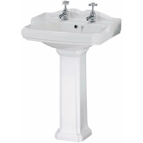 Nuie Legend Basin and Full Pedestal 580mm Wide - 2 Tap Hole