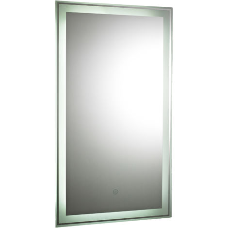 Nuie LQ034 Glow | Modern Bathroom Mirror With LED Lights and Touch Sensor, 700mm x 500mm, Chrome