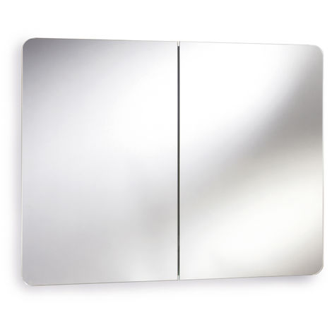 Nuie LQ383 Mimic | Modern Bathroom Mirror Cabinet With Double Doors , 500mm x 800mm, Chrome