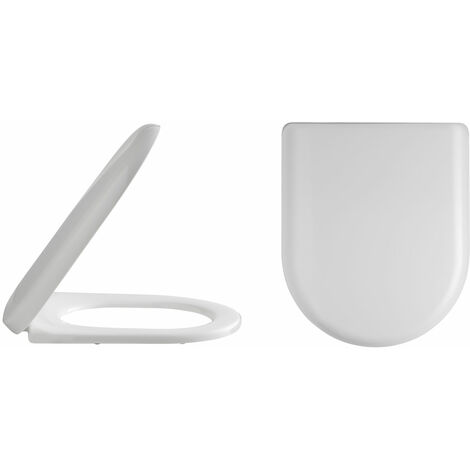 """main image of """"Nuie Luxury D-Shaped Thermoplastic Toilet Seat, Soft Close Hinge, White"""""""