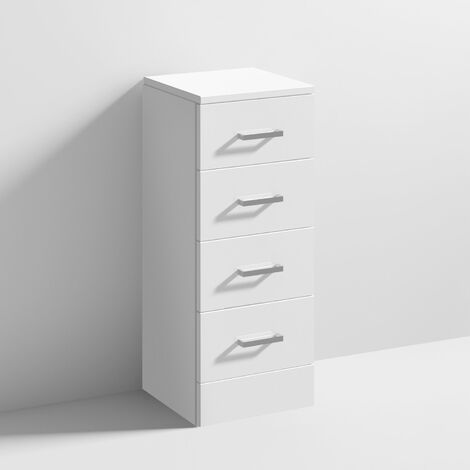 Nuie Mayford 4-Drawer Unit 300mm Wide x 300mm Deep - Gloss White