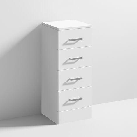 Nuie Mayford 4-Drawer Unit 300mm Wide x 330mm Deep - Gloss White