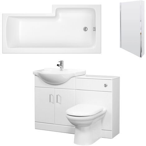 Nuie Mayford Complete Furniture Bathroom Suite with L-Shaped Shower Bath 1700mm - Left Handed