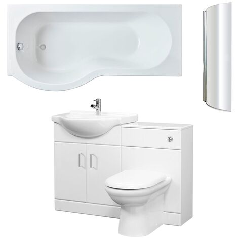 Nuie Mayford Complete Furniture Bathroom Suite with P-Shaped Shower Bath 1700mm - Left Handed