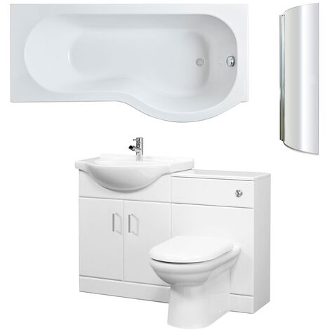Nuie Mayford Complete Furniture Bathroom Suite with P-Shaped Shower Bath 1700mm - Right Handed