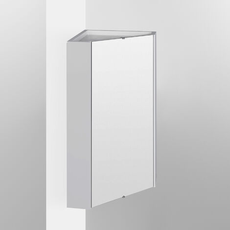 Nuie Mayford Corner Mirrored Bathroom Cabinet 459mm W White
