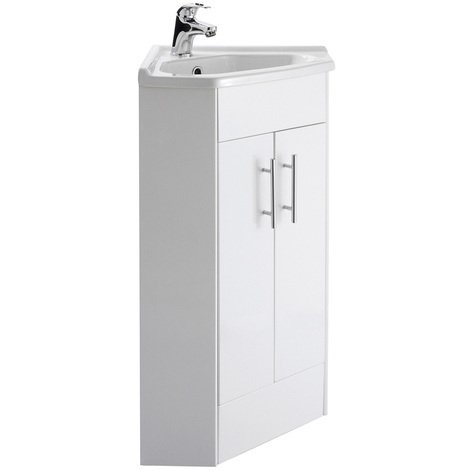 Nuie Mayford Gloss White 555mm 2 Door Corner Vanity Unit and Basin - NVC180A