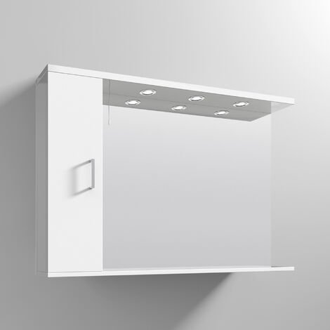 Nuie Mayford Mirrored Bathroom Cabinet 750mm H x 1050mm W White - Left Handed