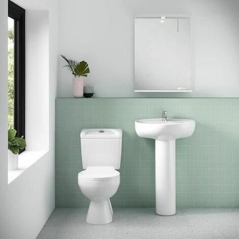 Nuie Melbourne Bathroom Suite, Close Coupled Toilet, 1 Tap Hole Basin