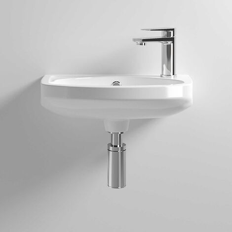 Nuie Melbourne Wall Hung Cloakroom Basin 450mm Wide 1 Tap Hole