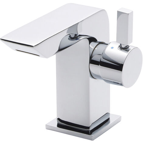 Nuie MIN365 Bloc | Modern Cloakroom Bathroom Mini Basin Mixer Tap with Free Push Button Waste, 110mm x 50mm, Chrome, Set of 2 Pieces