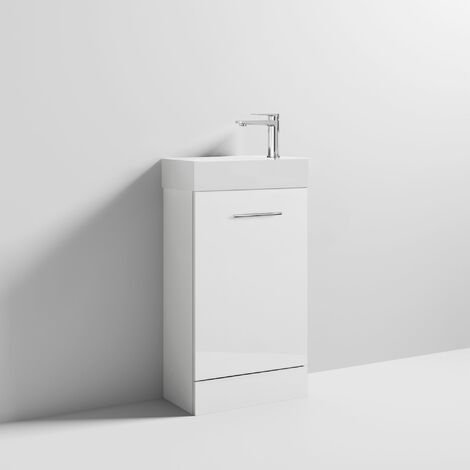 Nuie Minimalist Compact Floor Standing Vanity Unit with Basin 480mm Wide - Gloss White