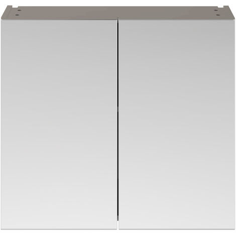 Nuie MOC519 Athena ǀ Modern Bathroom Wall Hung Contemporary Double Door Mirror Storage Cabinet, 800mm, Stone Grey