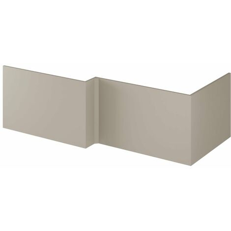 Nuie MPC431 Athena ǀ Modern Bathroom L Shaped Square MFC End Bath Panel, 700mm, Stone Grey