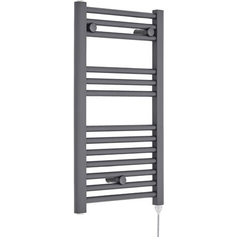Nuie MTY153 | Modern Bathroom 300 Watt Heated Electric Ladder Towel Rail, 720mm x 400mm, Anthracite