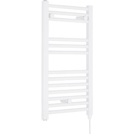 Nuie MTY156 | Modern Bathroom 300 Watt Heated Electric Ladder Towel Rail, 720mm x 400mm, White