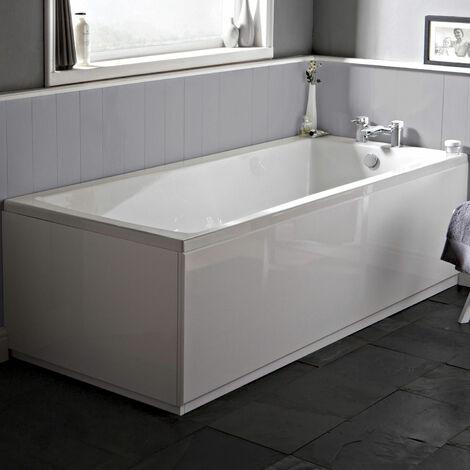 Nuie NBA409 Linton ǀ Modern Bathroom Single Ended Square Bath, 1700mm x 700mm x 380mm, White