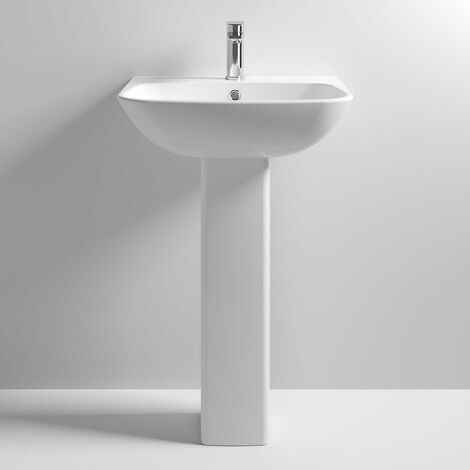 Nuie NCG400 Ava | 545mm Basin & Pedestal, Gloss Grey