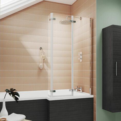 Nuie NSBS3 Quattro | Modern Bathroom Double Hinged Bath Screen For Square Shower Baths, 812mm x 1400mm , Chrome