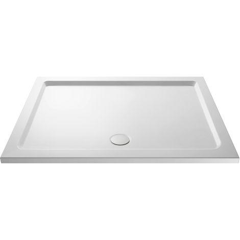 Nuie NTP034 | Modern Bathroom Rectangular Slimline Pearlstone Shower Tray , 900mm x 1400mm, Gloss White