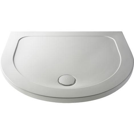 Nuie NTP095 | Modern Bathroom D Shape Slimline Pearlstone Shower Tray , 950mm x 1050mm, Gloss White
