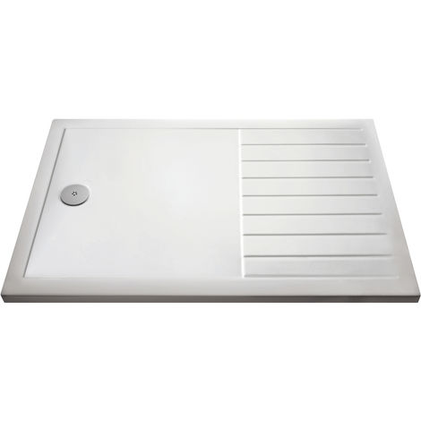 Nuie NTP1480 | Modern Bathroom Slimline Pearlstone Wetroom Shower Tray , 800mm x 1400mm , Gloss White
