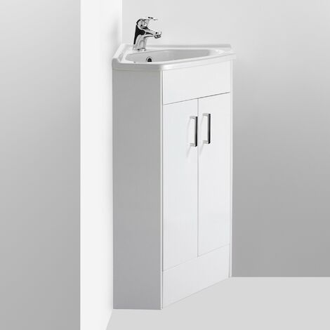 Nuie NVC180A Mayford | Modern Bathroom Floor Standing 2 Door Cloakroom Corner Vanity Unit With 1 Tap Hole Basin, 555mm x 800mm, Gloss White