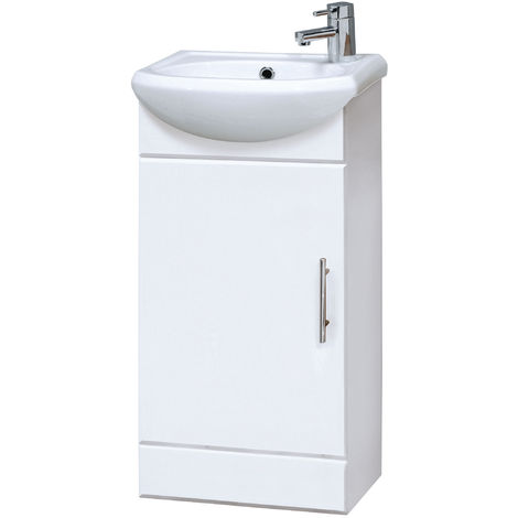 Nuie NVS100 Mayford | Modern Bathroom Floor Standing 1 Door Cloakroom Vanity Unit With 1 Tap Hole Basin , 420mm x 780mm , Gloss White