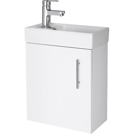 Nuie NVX182 Vault ǀ Modern Bathroom Single Soft Close Door Wall Hung Vanity Unit with 1 Tap Hole Ceramic Basin, 405mm x 520mm x 215mm, Gloss White