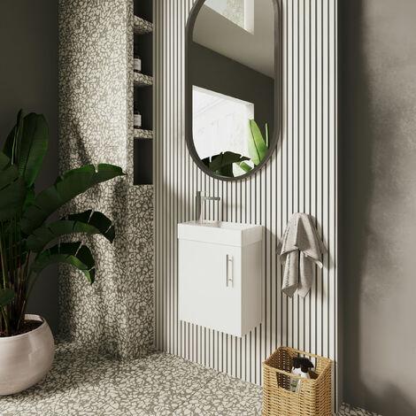 Nuie NVX182 Vault ǀ Modern Bathroom Single Soft Close Door Wall Hung Vanity Unit with 1 Tap Hole Ceramic Basin, 405mm x 520mm x 215mm, Gloss White