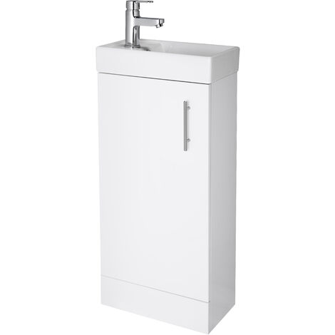 Nuie NVX192 Vault ǀ Modern Bathroom Single Soft Close Door Floor Standing Vanity Unit with 1 Tap Hole Ceramic Basin, 390mm x 781mm x 215mm, Gloss White