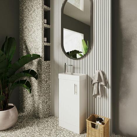 Nuie NVX192 Vault ǀ Modern Bathroom Single Soft Close Door Floor Standing Vanity Unit with 1 Tap Hole Ceramic Basin, 390mm x 781mm x 215mm, Gloss White