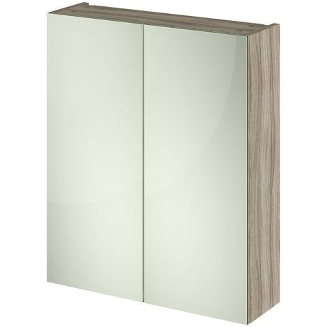 Nuie OFF217 Athena ǀ Modern Bathroom Wall Hung Contemporary Double Door Mirror Storage Cabinet, 600mm, Driftwood