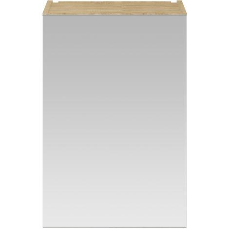 Nuie OFF316 Athena ǀ Modern Bathroom Wall Hung Contemporary Single Door Mirror Storage Cabinet, 450mm, Natural Oak