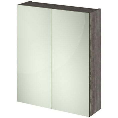 Nuie OFF517 Athena ǀ Modern Bathroom Wall Hung Contemporary Double Door Mirror Storage Cabinet, 600mm, Brown Grey Avola