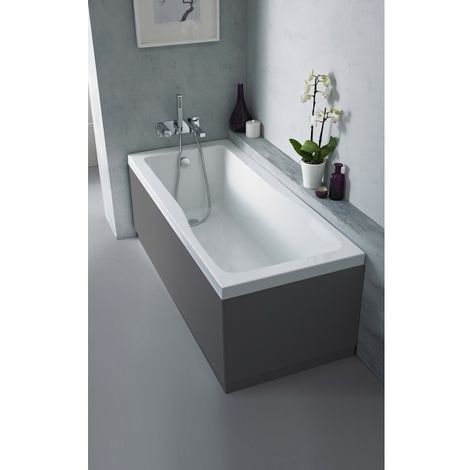 Nuie OFF971 Athena   Modern Bathroom MFC End Panel For Straight Baths, 750mm, Gloss Grey
