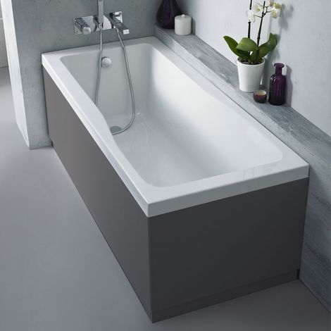 Nuie OFF977 Athena   Modern Bathroom MFC Front Panel For Straight Baths, 1700mm, Gloss Grey