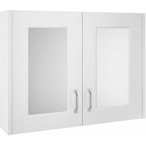 Nuie OLF115 York White Ash   800mm Mirror Cabinet, White Ash