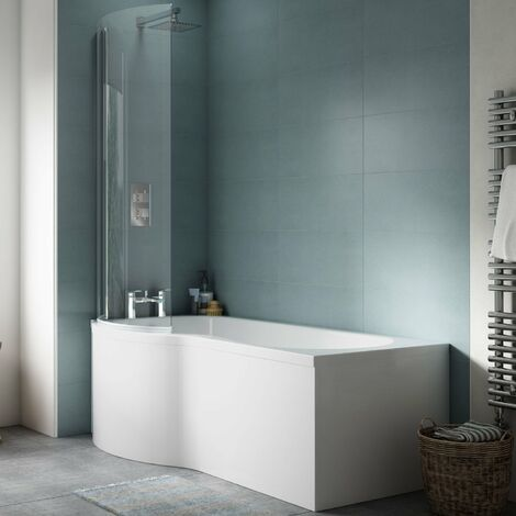 Nuie P-Shaped Shower Bath with Front Panel and Screen 1500mm x 700mm/850mm - Left Handed