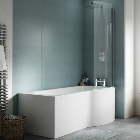Nuie P-Shaped Shower Bath with Front Panel and Screen 1500mm x 700mm/850mm - Right Handed
