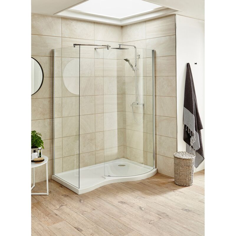 Nuie Pacific 1395mm x 906mm Curved Walk In Shower ... on Outdoor Water Softener Enclosure  id=40022